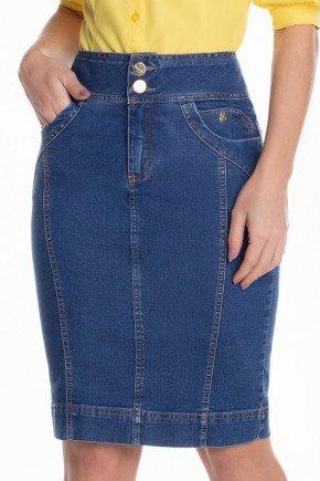 saia jeans reta recortes frontais 3
