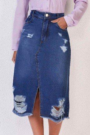 saia evase jeans com racho e ralados titanium baixo
