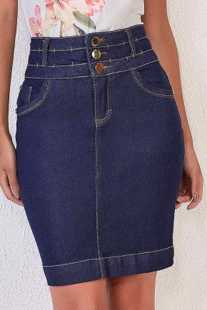 saia jeans escuro reta cos largo 1