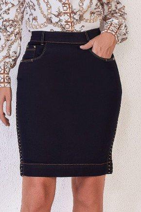 saia jeans com laterais em bordado industrial titanium baixo