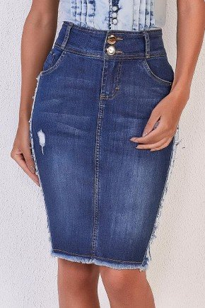 saia jeans azul detalhe lateral desfiado titanium jeans 1