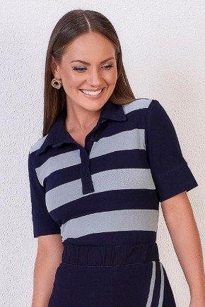 blusa azul marinho malha denim gola polo titanium jeans 1
