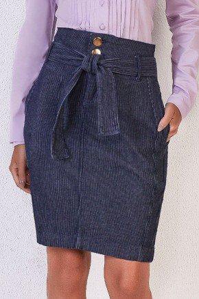 saia jeans em alfaiataria com risca de giz titanium baixo